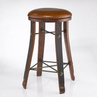Vintage Oak Wine Barrel Round Bar Stool with Leather Seat ...