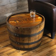 Personalized Whiskey Barrel Table - Wine Enthusiast