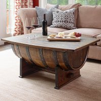 Handmade Vintage Oak Whiskey Barrel Coffee Table - Wine ...