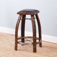 Vintage Oak Wine Barrel Bar Stool with Whiskey Finish and ...