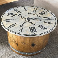 Distressed Clock Glass Top Coffee Table - Wine Enthusiast