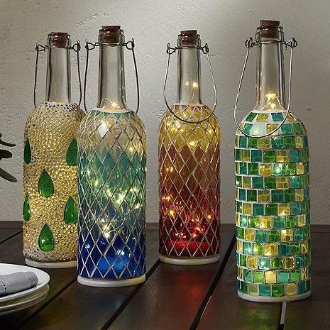 Wine Bottle Mosaic Lanterns Set of 4  Wine Enthusiast
