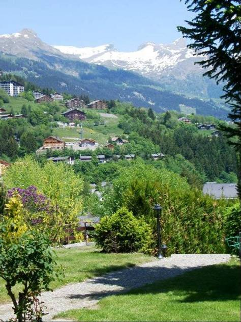 Summer view of the Crans-Montana ski domain from Chalet Petite Tara