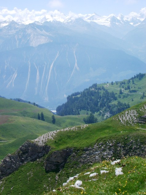 View of Val Anniviers from La Tieche near Crans-Montana, Switzerland