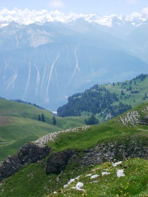 View of Val Anniviers from La Tieche near Crans-Montana, Switzerland