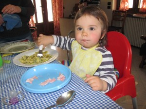 Lidia Deltetto enjoying her pasta at lunch with three other generations of Grassos