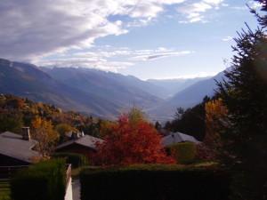 View from Bluche up the Rhone Valley in Valais, Switzerland