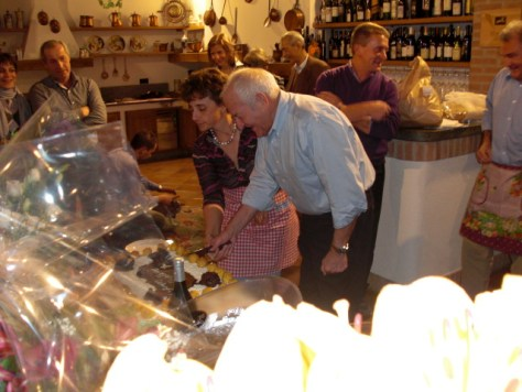 Luciana and my husband Dani, surrounded by family and friends in the winery's tasting room, celebrating their birthdays together in 2008.