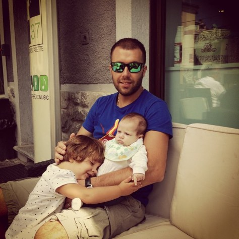 Luciana's son-in-law Carlo Deltetto with his two daughters, Lidia and infant Anna.