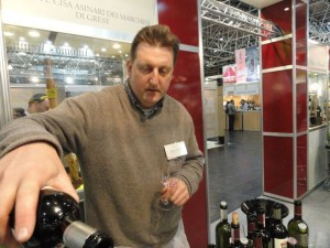 Cellar Master Jeffrey Chilcott performing one of his favorite tasks, showing off the wines of Marchesi di Gresy.