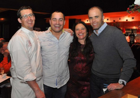Chiara Boschis with Colorado importer Steve Lewis of Giuliana Imports and Zino Ristorante partners Chef Nick Haley and Giuseppe Bosco.