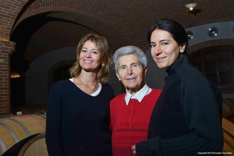 Sisters Enrica and Elisa Scavino with their beloved Aunt Angela in the cantina of their family winery, Paolo Scavino in Barolo.