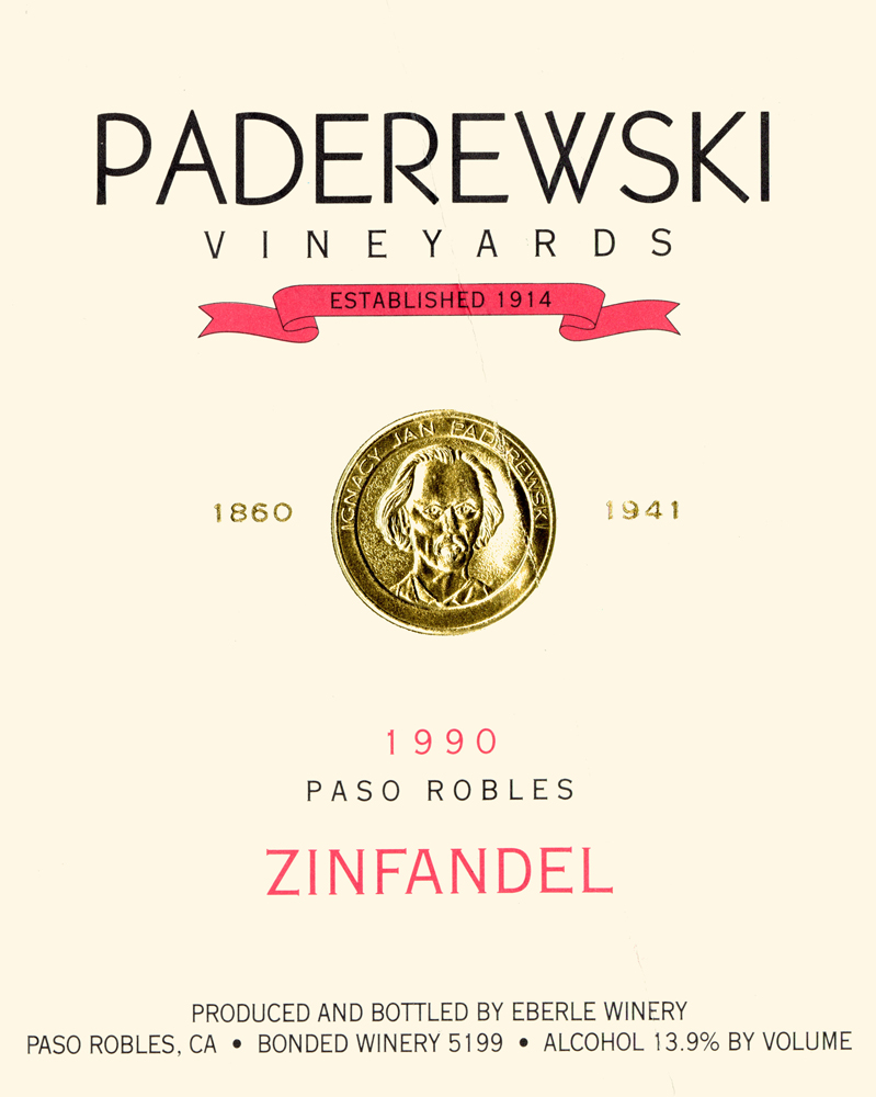 Paderewski Zinfandel label