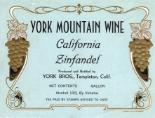 York Mountain Cal Zin Wine Label 2