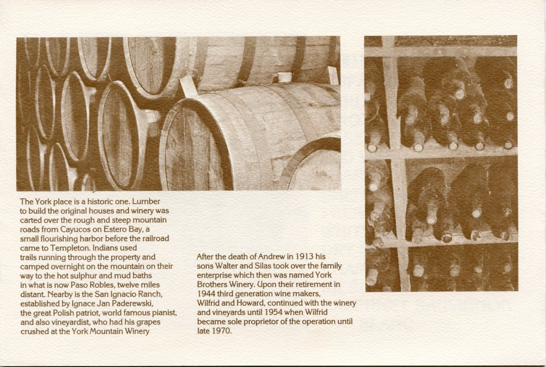 York Mountain Winery Brochure