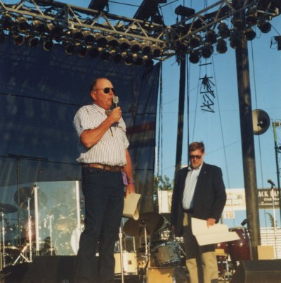 Howie accepting the 2002 Grape Grower of the Year Award at the Mid State Fair, color,size 4 x 4, dated 2002