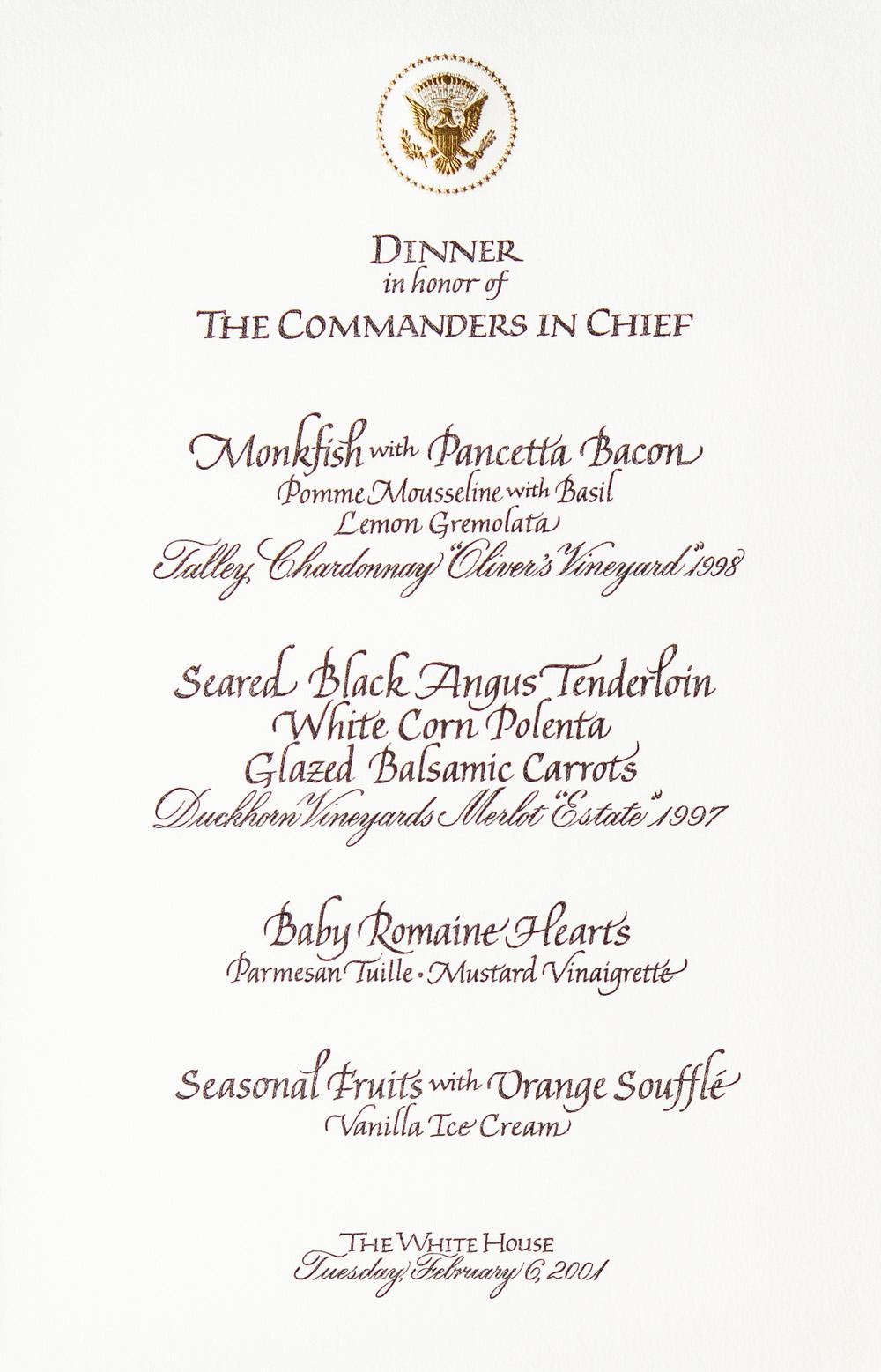 Talley White House Menus-Feb6-2001