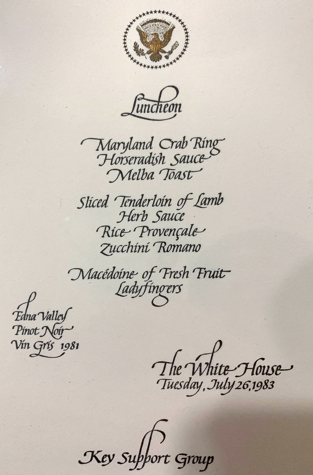 WhiteHouseMenu-Jul26-1983-EdnaValley