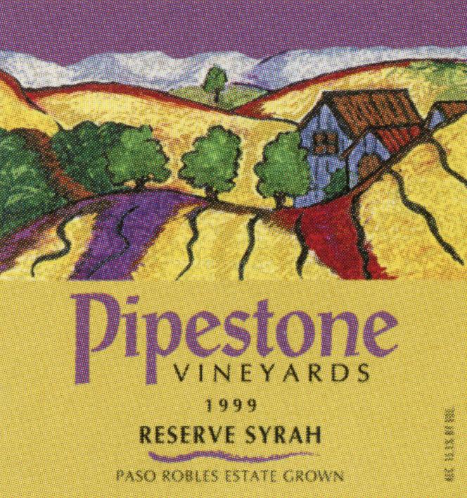 Pipestone Vineyards Syrah 1999 wine label