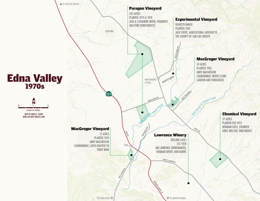 Edna Valley in the 1970s map bt Aimee Armour-Avant