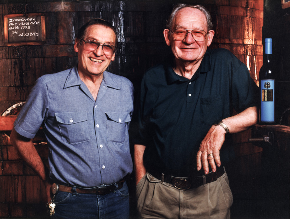 Aldo Nerelli and Victor Pesenti, the second generation of winemakers (1946–1969) at Pesenti Winery. Courtesy of Frank Nerelli., circa 1995.