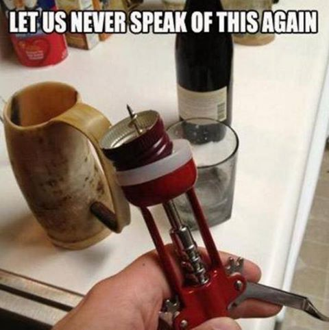 wine humor no cork using a corkscrew
