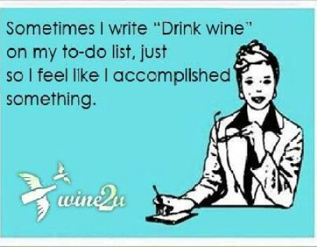 to-do list includes wine