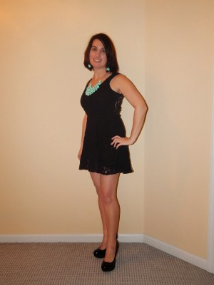 little black dress and statement necklace