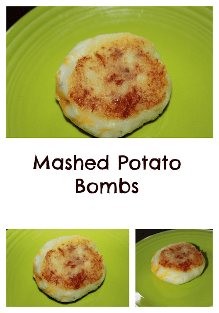 Fried mashed potatoes with bacon and cheese.