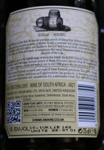 Back Label of Fairhills Cape Original 2014 Shiraz Malbec