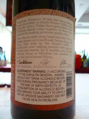 2010 Harkham Shiraz - back label_