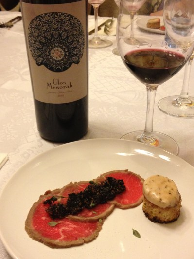 Beef Carpaccio, Cherry Mostarda, Marrow Toast and 2009 Clos Mesorah 2