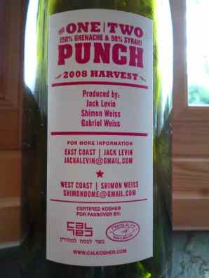 One - Two Punch - back label