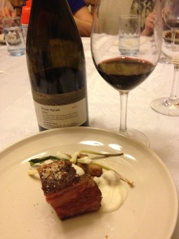 Seeded Rye Gnocchi, Short Rib Pastrami, Kraut Puree, Dill Pickle Vin, Shaved Rye Bread and 2005 galil Yiron Syrah 2