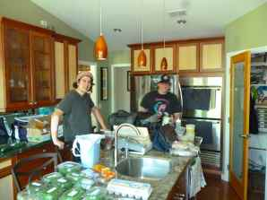The gang unpacking early before the dinner prep 3