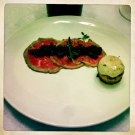 Beef Carpaccio, Cherry Mostarda, Marrow Toast