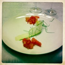 Hawaiian Albacore and Watermelon Tar Tar, Cucumber