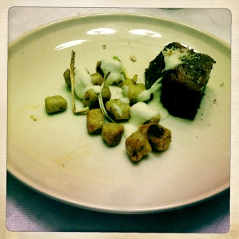 Seeded Rye Gnocchi, Short Rib Pastrami, Kraut Puree, Dill Pickle Vin, Shaved Rye Bread
