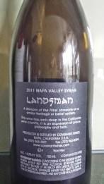 2011 Landsman Syrah - back label