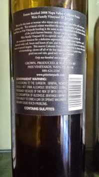 2008 Prix Cabernet Franc - back label
