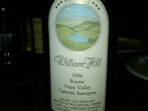 William Hill Reserve Cabernet Napa Valley 1986