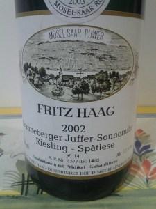 Fritz Haag Brauneberger Juffer Sonnenuhr Riesling Spatlese Mosel 2002 #3