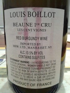 Louis Boillot Beaune Cent Vignes 2011 #1