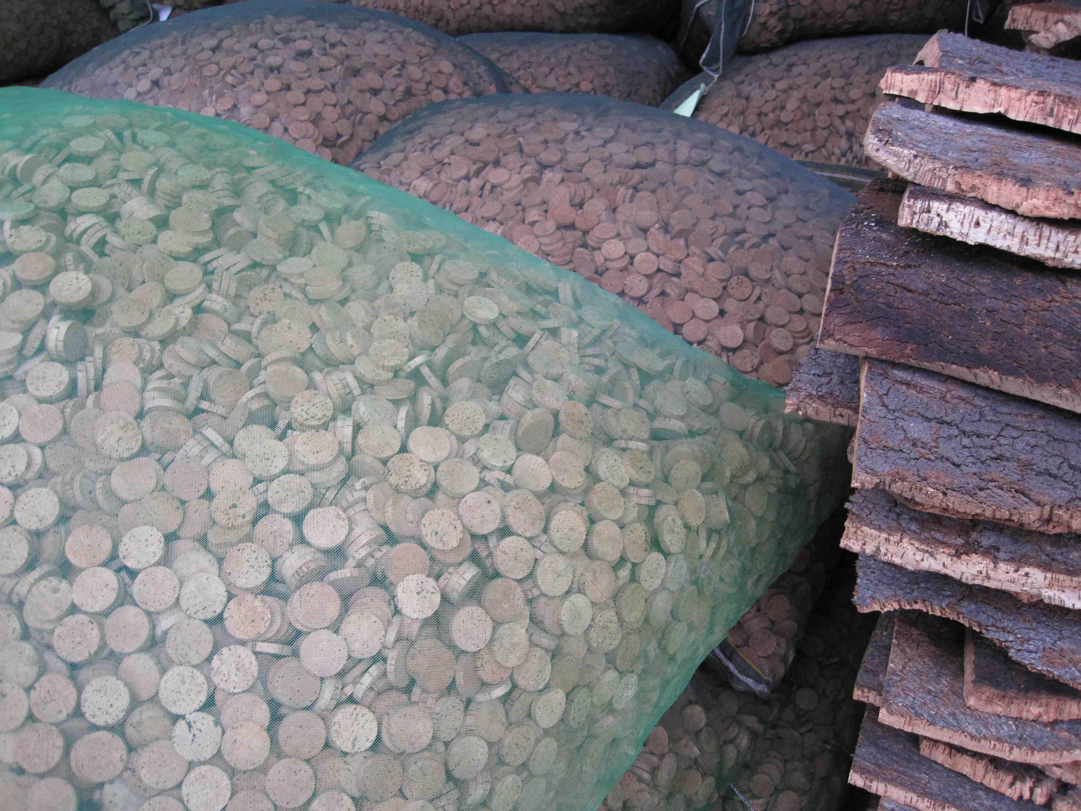 cork rings at Amurim cork factory in Ribatejo Portugal