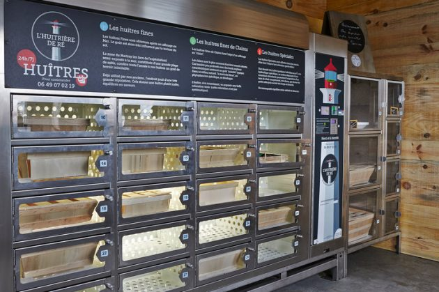 oyster vending machine, france, oysters