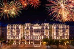 Fireworks above Corinthia Hotel Budapest