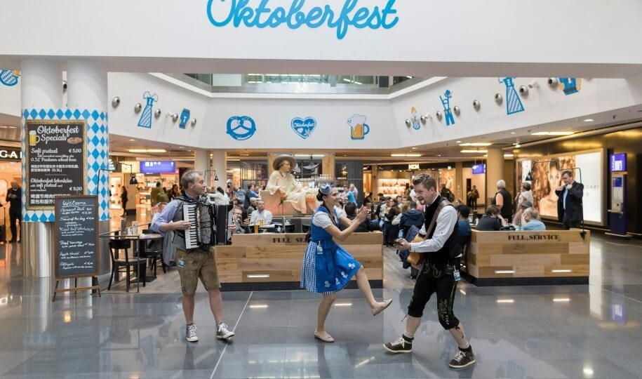 Everything in White-and-Blue:  Frankfurt Airport Is Celebrating Oktoberfest