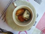 Cauliflower & Gorgonzola soup with garlic & parsley croutons - paired with Laborie Merlot