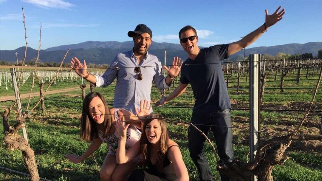Having fun in the vineyard