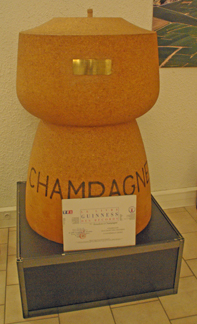 Largest champagne cork in Champagne at Cooperative Champagne Beaumont des Crayèrers